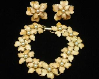 Coro Floral Bracelet Earrings Set Vintage