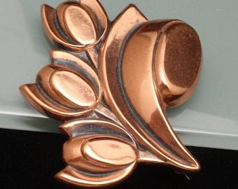 Copper Tulip Flower Pin Vintage Renoir