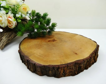 "Wood Slice,  Cake Stand, Centerpiece, Wood Slice, Tree Trunk Slice, Wedding Decor, Rustic Home Decor, Seasonal. Woodland Decor, 8""-9"""