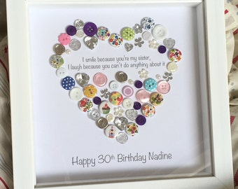 Sister Personalised Button Heart Picture - I smile because you're my sister - Christmas Gift Buttons Print