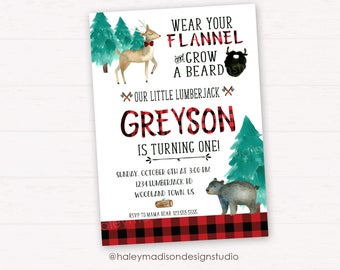 Lumberjack Birthday Invitation, Lumberjack Birthday Party Invitation, Flannel, Red buffalo Plaid Invitation DIGITAL FILE