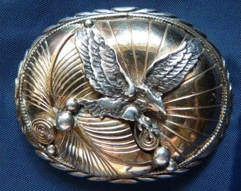 Native American NAVAJO Sterling Silver Belt Buckle -- Marked & Signed A.B. with EAGLE Motif -- FREE U.S.A. Shipping -- Nice Size and Look.