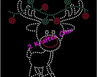 Christmas Rhinstone Shirt, Christmas Bling Shirt, Christmas Rhinestone Tshirt, Christmas Bling Tshirt, Reindeer Rhinestone Shirt