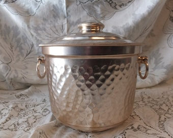 Hammered Aluminum Ice Bucket / Pale Copper Color- Made in Italy