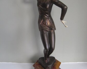 SOLD - Art Deco Bronze and Ivorine Figurine Red Dancer F Priess