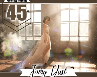 45 Fairy dust photo overlays, Photoshop overlay, floating dust overlay, digital backdrop background, realistic effect, Photo layer JPG files
