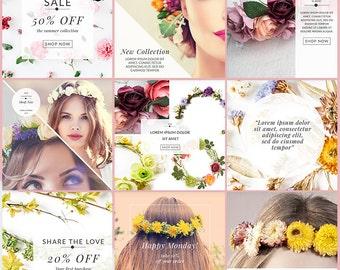 Social Media Graphics Pack Instagram Pinterest Facebook - Flower Child