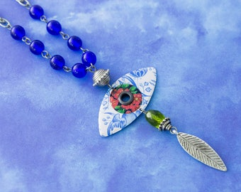 Evil Eye Necklace, Feather Charm Necklace, Blue Evil Eye Necklace, Eye Jewelry, Good Luck Jewelry, Cobalt Blue Jewelry, Tin Gifts
