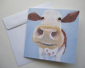 "Brown Cow Greeting Card, 5.5x5.5"" Blank Greeting Card, Brown Cow Greeting Card by Amber Maki"