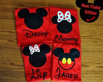 Disney Family Shirts/Disney Family Matching Shirts/Custom Disney Shirts/Mickey Mouse/Minnie Mouse Inspired w/ Glitter option Available