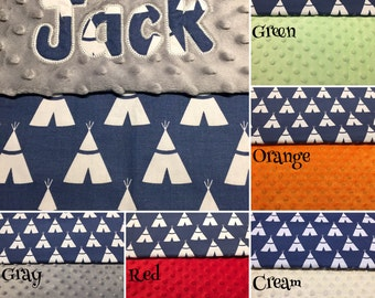 """Baby Boy Navy Tent Minky Blanket with Appliqued Name 30""""x36"""""""