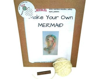 Knitted mermaid kit, knit your own kit, knit your own mermaid, mermaid kit, knitting kit, craft kit, gift for knitter