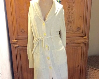 Hipster Marjone Cream Midi Long Belted Sweater Bohemian Chic/Cottage Chic Sweater Coat