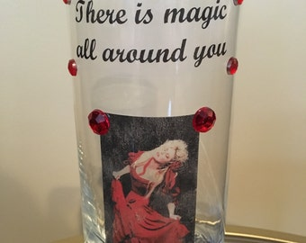 "Stevie Nicks inspired ""Rooms on Fire"" candle holder vase"