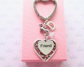 Friend keychain - Friend Birthday - Personalised Dachshund keychain - Initial keyring - Gift for friend - Dachshund keyring - UK