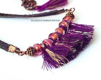 Bohemian Necklace   Boho Necklace   Gypsy Pink Purple Tassel Necklace