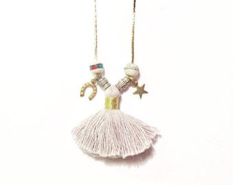 SALE- Festival Tassel Necklace with Vintage Beads and Horseshoe and Star Charms