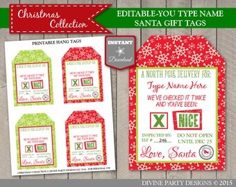 INSTANT DOWNLOAD Printable Editable Christmas Santa Claus North Pole Gift Tags / Type in Name / Christmas Collection / Item #3065