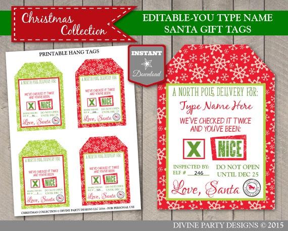 Christmas Name Tags: INSTANT DOWNLOAD Printable Editable Christmas Santa Claus