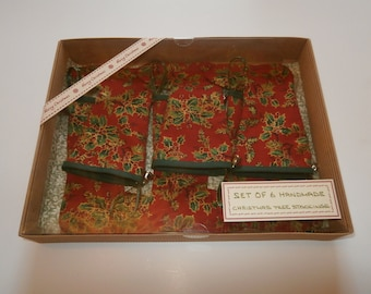 Handmade set of 6 boxed Christmas Tree Stockings - Great for tiny pressies on the tree.