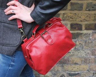 Mini Doctor Bag Red Leather