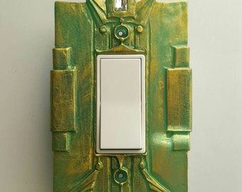 Art Deco Single Rocker Switch Plate, Peridot Green finish. Paddle switch, rectangular outlet, dimmer switch, GFCI switchplate