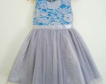 Flower girl dress blue and grey satin and lace girl's dress, flower girl tutu dress