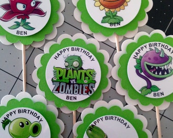 Plants Vs Zombies Party 36 pc set Treat Bags Cupcake toppers Stickers PERSONALIZED  Video Game