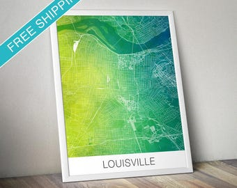 Louisville Map Print - Map Art Poster with Watercolor Background