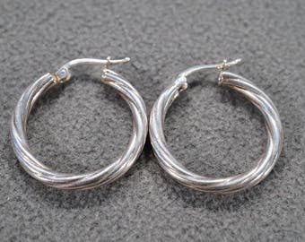 vintage sterling silver hoop earrings with rope styling and hinged earwire back   M4