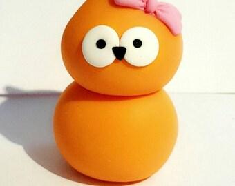 Handmade EDF Zingy Girl Character Orange Blob Figure