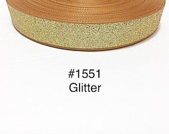 "3 or 5 yard - 7/8"" Glitter Solid Gold Grosgrain Ribbon Hair bow"