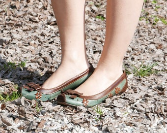 Vintage shoes green brown leather size 39 brand MISS SIXTY made in Italy OOAK
