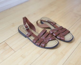 vintage woven brown leather strappy sandals womens 6 1/2
