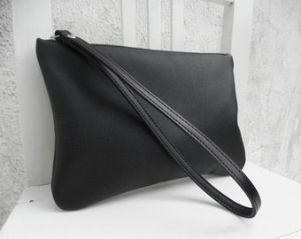 Leather Wristlet Clutch/Leather Black Pouch/Leather Zipper Pouch