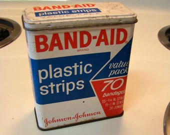 Metal Band-Aid box, Johnson & Johnson Band-Aid can, vintage bandaids, metal band-aid tin can