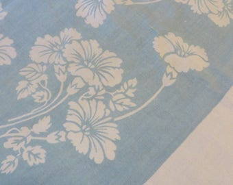 Tablecloth Blue with Sprays of Flowers Wild Daisies or Asters //  Colors are LIGHT BLUE & WHITE  //  Cottage Kitchen or Picnic Cloth