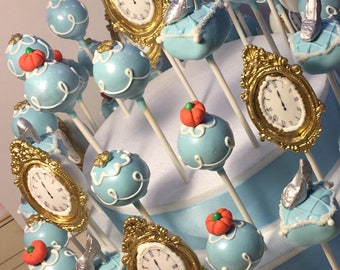12 Cake Pops, Cinderella, Princess Party, Birthday Party,Play/ Recital, Wedding, Bridal Shower, Baby Shower