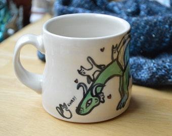 Dragon Loves Kittens Porcelain Mug
