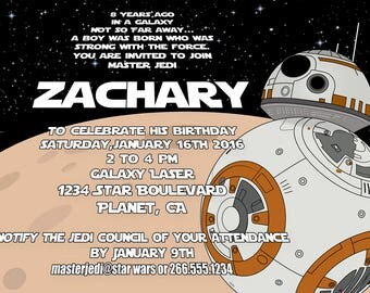 BB8 Star Wars Birthday Invitation, Personalized Star Wars Invite, Printable High Resolution