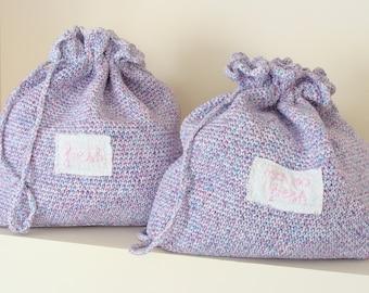 Hand crochet travel bags, lingerie bags, drawstring bags, laundry bags, travel organizer, reusable bags, Fresh & Not So Fresh bags