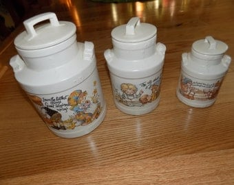 McCoy Canister Set Container Cookies Flour Sugar Tea Canisters Vintage McCoy Kitchen Counter Storage Home Cookie Jar