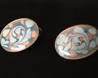 Vintage Blue Enamel and Copper Back Screw Oval Earrings