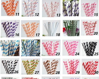100 Colored Striped Star Dots Chevron Paper Drinking Straws-Cake Pop Sticks Party Drinking Straws for Wedding Easter Christmas Sweet 16