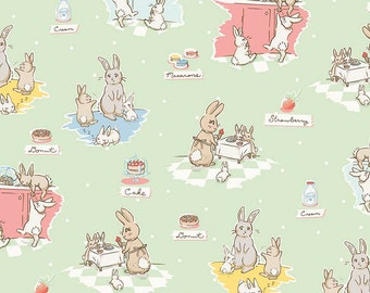 Bunnies and Cream Main Mint by Lauren Nash for Penny Rose Fabrics C6020-Mint