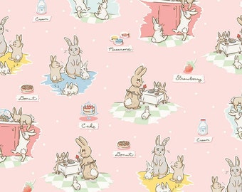Bunnies and Cream Main Pink by Lauren Nash for Penny Rose Fabrics C6020-Pink
