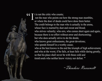 Theodore Roosevelt Poster Teddy Roosevelt Man In The Arena Quote Poster