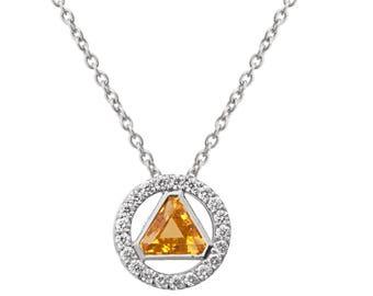 Triangle Pendant, Art Deco Pendant, Citrine Pendant, 18K White Gold Necklace, diamond pendant, gift, diamond pendant, November Birthstone