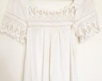 Vintage delicate cotton lace blouse