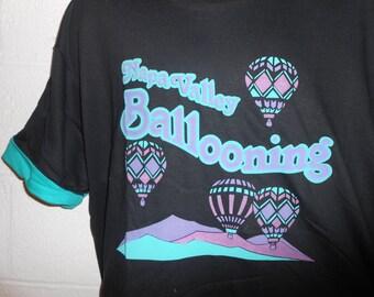 Vintage Napa Valley California Ballooning Hot Air Balloon T-Shirt XL